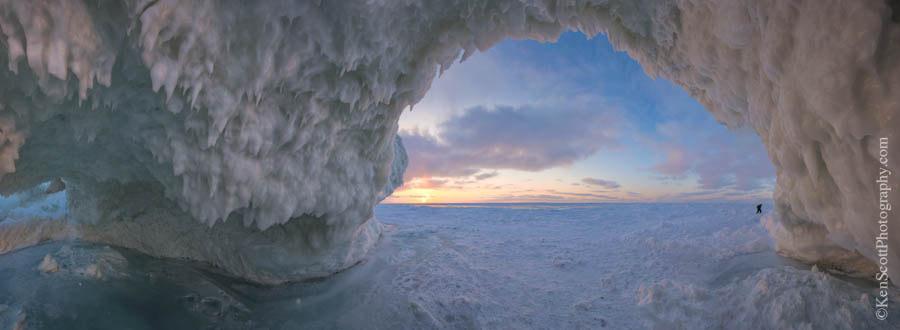 Lake Michigan ... ice cave sunset