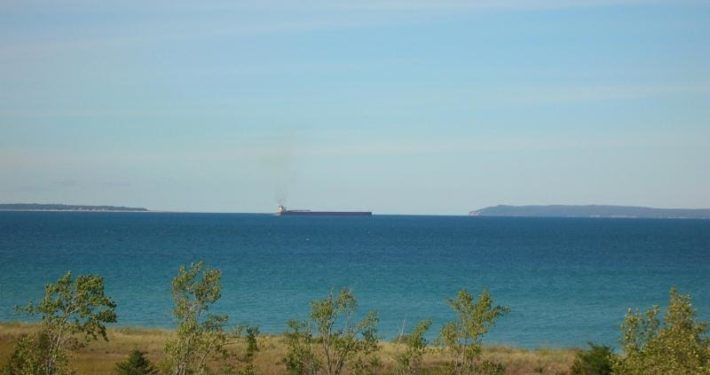 Freighter transiting the Manitou Passage off of Sleeping Bear Point.  Photo courtesy of the National Park Service.